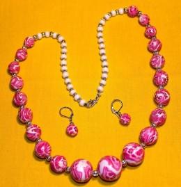 Obrázek výrobku: Růžovobílé vzorované korále