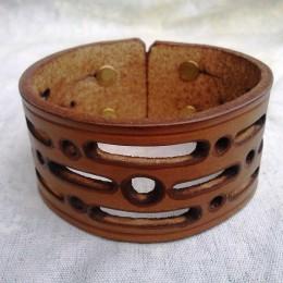 Obrázek výrobku: Ručně řezaný kožený náramek z pravé kůže2, široký 4cm