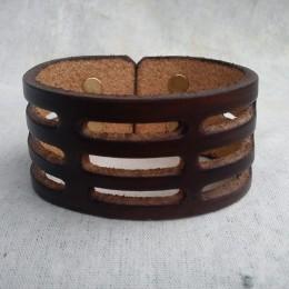 Obrázek výrobku: Ručně řezaný kožený náramek z pravé kůže3, široký 4cm