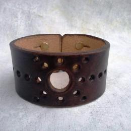 Obrázek výrobku: Ručně řezaný kožený náramek z pravé kůže4, široký 4cm