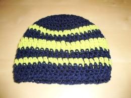 Obrázek výrobku: Dětská háčkovaná čepice s pruhy - modrožlutá