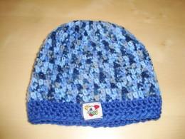 Obrázek výrobku: Dětská háčkovaná čepice - modrý melír