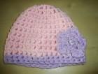 Výrobek: Dětská háčkovaná čepice - růžovo-fialová