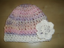 Obrázek výrobku: Dětská háčkovaná čepice - růžovo - fialový melír