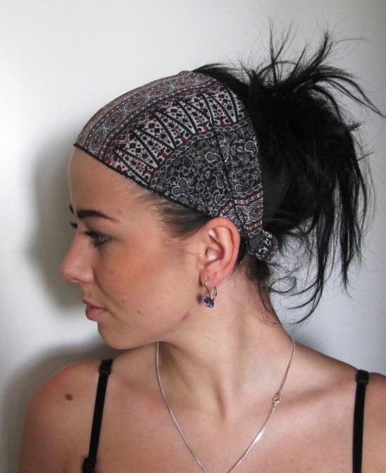 26485021136 Široká látková čelenka do vlasů - šifon - univerzální velikost ...