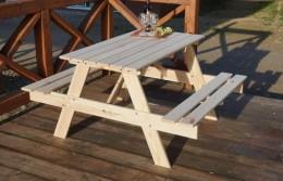 Obrázek výrobku: Zahradní dřevěný set PIKNIK 120 cm přírodní