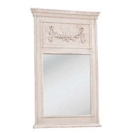 Obrázek výrobku: Zrcadlo obdélníkové, bílé s dekorem - VINTAGE STYLE