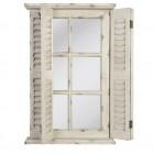 Výrobek: Zrcadlo obdélníkové, bílé s okenicemi - VINTAGE STYLE