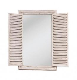 Obrázek výrobku: Zrcadlo obdélníkové, bílé s okenicemi2 - VINTAGE STYLE