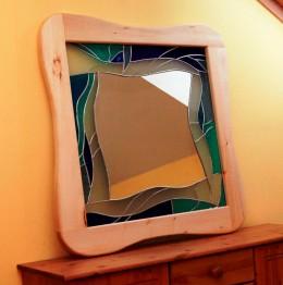 Obrázek výrobku: Vitrážové zrcadlo - MODRÉ