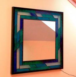 Obrázek výrobku: Vitrážové zrcadlo - MODRO-ZELENÉ
