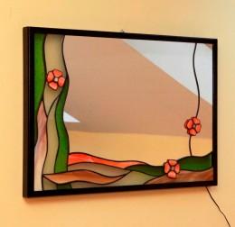 Obrázek výrobku: Vitrážové zrcadlo s květy