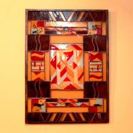 Obrázek výrobku: Vitráž s motivem pravěkých maleb v kovovém rámu