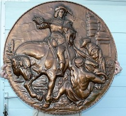 Obrázek výrobku: Velký vytlačovaný obraz- bojovník na koni