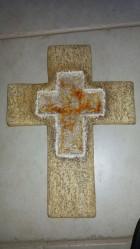 Výrobek: Kříž s roztaveným sklem, 32 cm