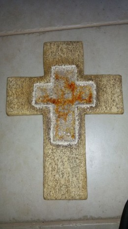 Obrázek výrobku: Kříž s roztaveným sklem, 32 cm