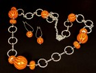 Výrobek: Pruhované oranžové korále