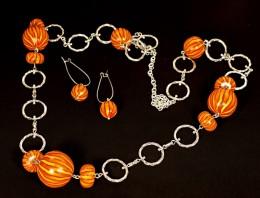 Obrázek výrobku: Pruhované oranžové korále