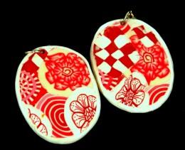 Obrázek výrobku: Růžovobílé skládané oválné náušnice