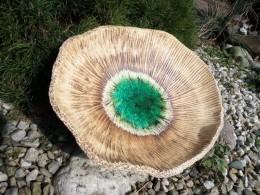 Obrázek výrobku: Mísa s roztaveným sklem zelená - průměr 45 cm