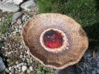 Výrobek: Mísa s roztaveným sklem s kytičkami . červená - 45 cm