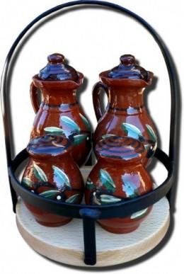 Obrázek výrobku: Souprava olej, ocet, sůl - dřevěné držadlo