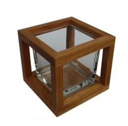 Obrázek výrobku: Dubový svícen - tmavý čtverec 13cm