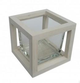 Obrázek výrobku: Dubový svícen - bílý čtverec 13cm
