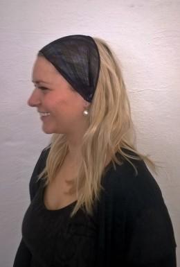 Obrázek výrobku: Látková čelenka - černá s fialovým vzorkem - průsvitná - univerzální