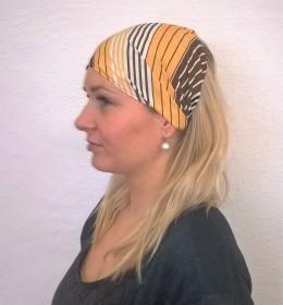 Obrázek výrobku: Látková čelenka - žluto hnědá - univerzální