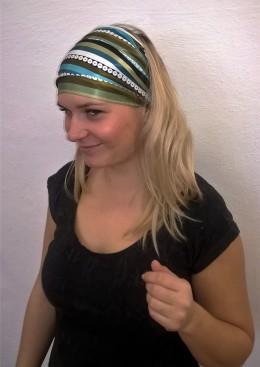 Obrázek výrobku: Látková saténová čelenka - barevné pruhy - univerzální