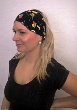 Obrázek výrobku: Látková čelenka - černá s barevnými květy - univerzální
