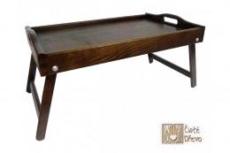 Obrázek výrobku: Dřevěný servírovací stolek do postele 50x30 cm tmavý