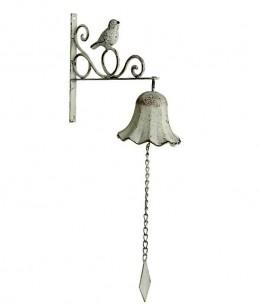Obrázek výrobku: Zvonek/ ptáček - 24*10*49 cm - bílá patina
