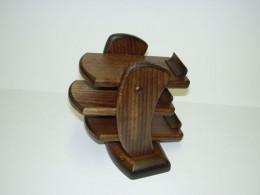 Obrázek výrobku: Třípatrový dřevěný stojan na dálkové ovládače-tmavě hnědý buk