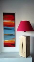 Výrobek: Originální Lampa na dřevěném podstavci - červená
