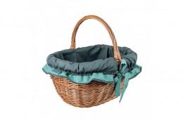 Obrázek výrobku: Proutěný koš na nákupy se zelenomodrou látkou