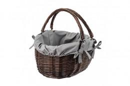 Obrázek výrobku: Proutěný koš na nákupy wenge s látkou a mašličkami