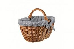 Obrázek výrobku: Proutěný koš na nákupy s puntíkovanou látkou