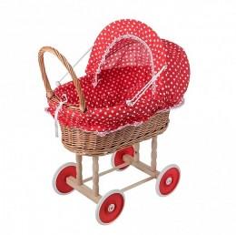 Obrázek výrobku: Proutěný kočárek pro panenky se vzorem