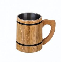 Obrázek výrobku: Dubový korbel s nerezovou vložkou - světlý