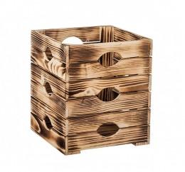 Obrázek výrobku: Opálená dřevěná bedýnka květináč 30 x 30 x 35 cm