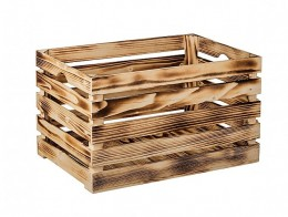 Obrázek výrobku: Opálená dřevěná bedýnka 60 x 39 x 35 cm