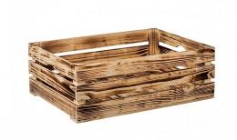Obrázek výrobku: Opálená dřevěná bedýnka 60 x 39 x 20 cm