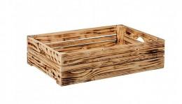 Obrázek výrobku: Opálená dřevěná bedýnka 60 x 39 x 15 cm