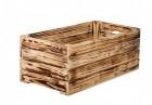 Výrobek: Opálená dřevěná bedýnka 60 x 30 x 24 cm