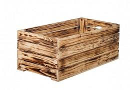 Obrázek výrobku: Opálená dřevěná bedýnka 60 x 30 x 24 cm
