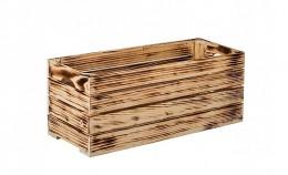 Obrázek výrobku: Opálená dřevěná bedýnka 60 x 22 x 24 cm