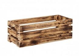 Obrázek výrobku: Opálená dřevěná bedýnka 60 x 22 x 20 cm