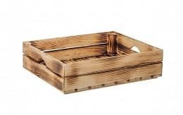 Obrázek výrobku: Opálená dřevěná bedýnka 50 x 39 x 12 cm (protiskluzová)